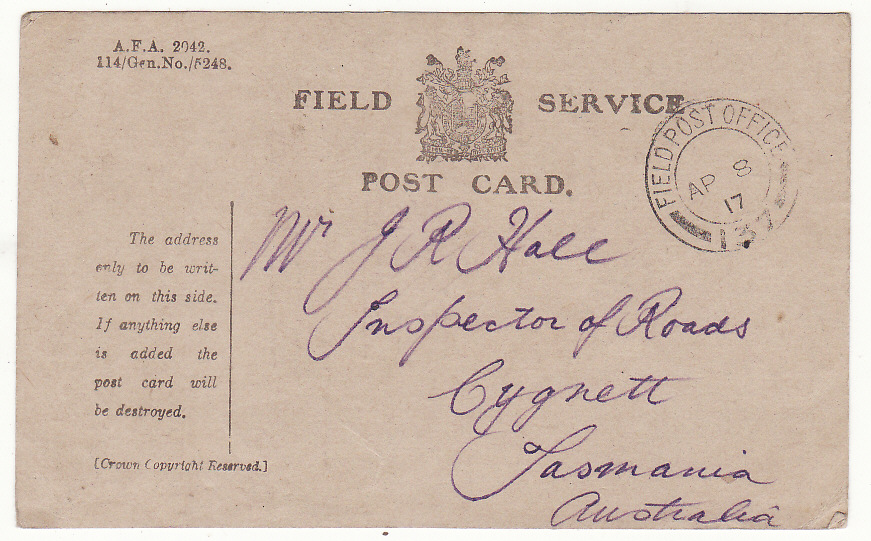 "[19976]  AUSTRALIA … WW1 A.I.F forces in FRANCE.. FIELD SERVICE CARD...  ""1917 (Apr 7)"