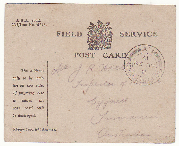 "[19977]  AUSTRALIA … WW1 A.I.F forces in FRANCE.. FIELD SERVICE CARD...  ""1917 (Aug 28)"