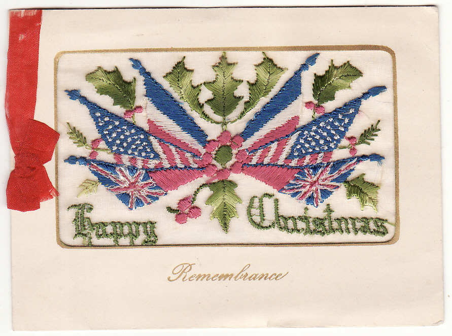 [19981]  AUSTRALIA … A.I.F. FORCES in FRANCE.. SILK CHRISTMAS GREETING CARD...  1917 (Oct 18)