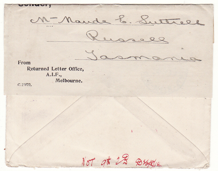 [19997]  AUSTRALIA - GB …WW1 A.I.F. FORCES RETURN TO SENDER with LETTER ….  1918 (Jun 9)