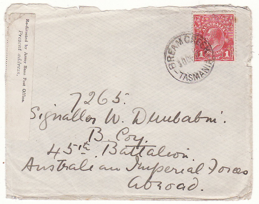 [19999]  AUSTRALIA …WW1 A.I.F. FORCES REDIRECTED BY ARMY BASE POST OFFICE LABEL….  1918 (Dec 30)