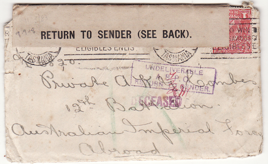[19998]  AUSTRALIA …WW1 A.I.F. FORCES DECEASED & RETURN TO SENDER with LETTER ….  1918 (Sep 9)