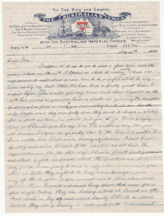 [20004]  AUSTRALIA.. WW1 TRANSPORT WRITTEN at SEA..  1916 (Nov 25)