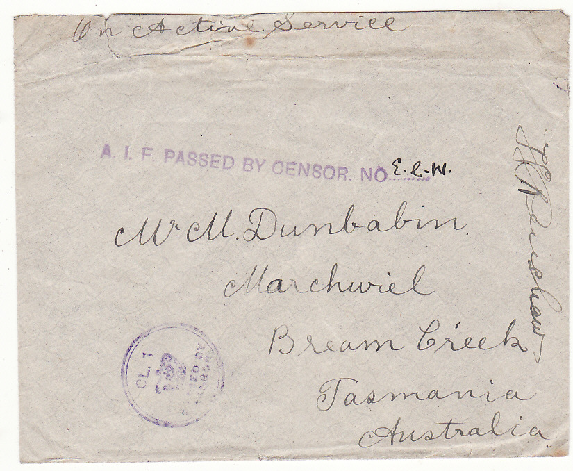 [20006]  AUSTRALIA.. WW1 TRANSPORT MARKING..  WW1 undated plain stampless envelope to Bream Creek, Tasmania endorsed On Active Service & with violet unframed A.I.F. Passed By Censor No ........ with ink E.R.W inserted (Not listed Emery & measuriing 87 x 3 mm)