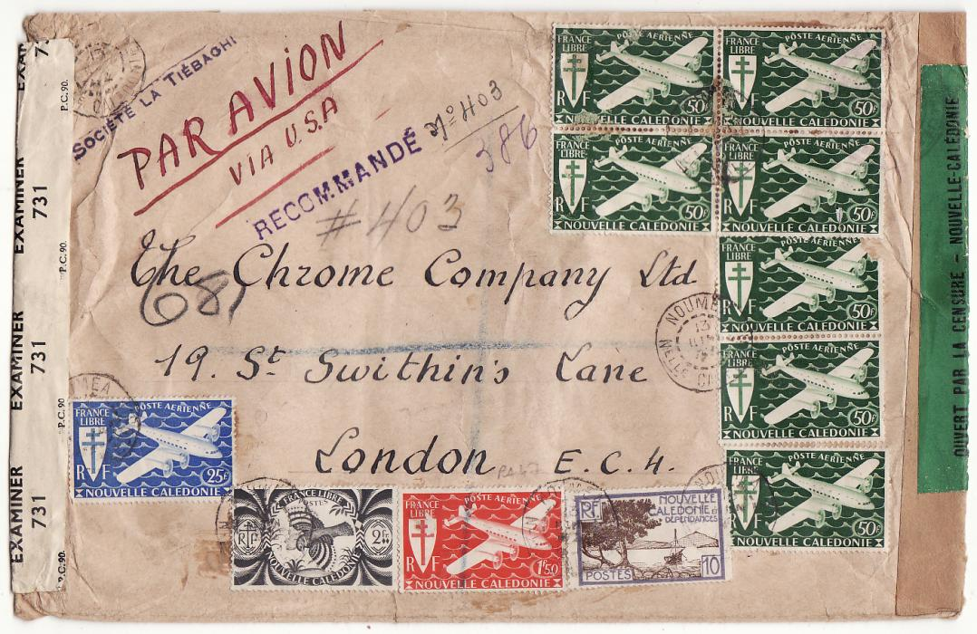 [20046]  NEW CALEDONIA - GB …WW2 REGISTERED DOUBLE CENSORED 2 OCEAN AIRMAIL…  1944 (Jun 13)