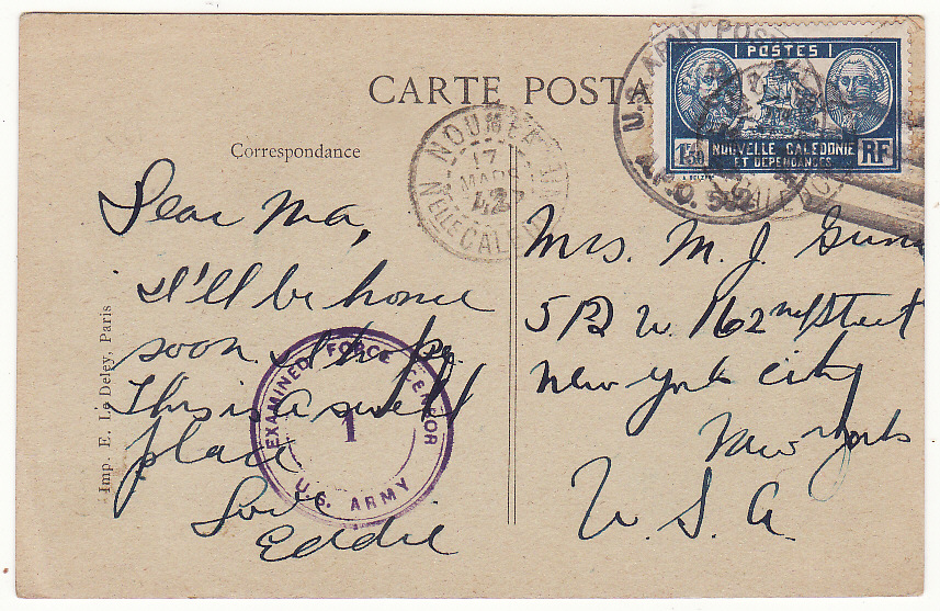 [20053]  NEW CALEDONIA - USA …WW2 CENSORED POSTCARD…  1942 (Mar 17)
