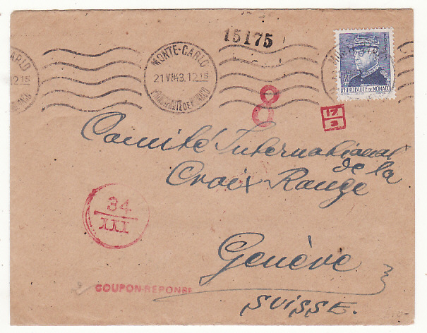 [19051]  MONACO - SWITZERLAND…ITALIAN OCCUPATION of S.E. FRANCE to RED CROSS…  1943 (Aug 21)