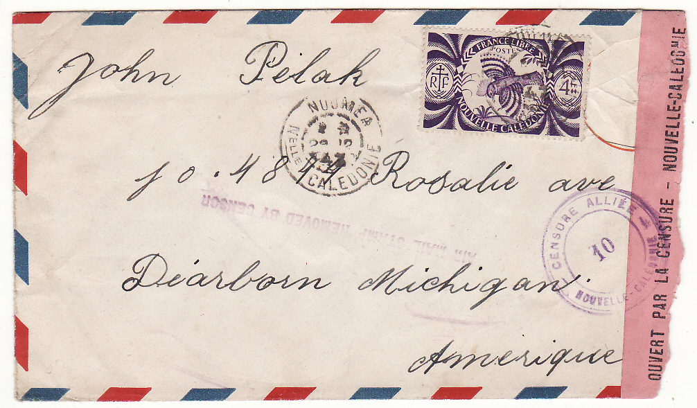 [20062]  NEW CALEDONIA - USA …WW2 AIRMAIL STAMP REMOVED BY CENSOR…  1943 (Oct 28)
