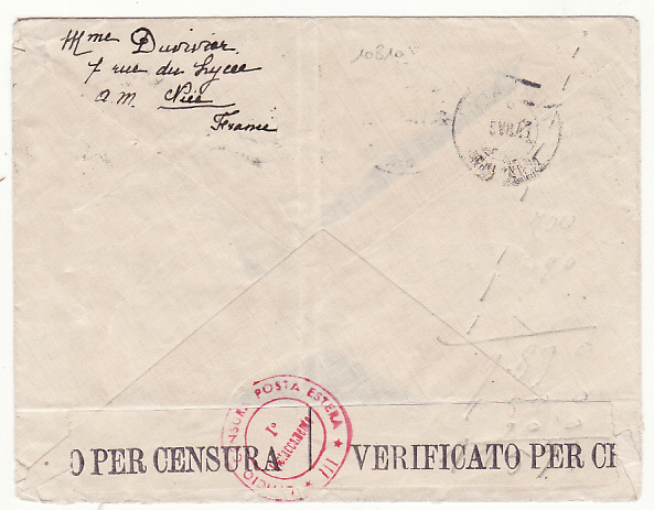 [19049]  FRANCE - SWITZERLAND…ITALIAN OCCUPATION of S.E. FRANCE…  1943 (Apr 25)