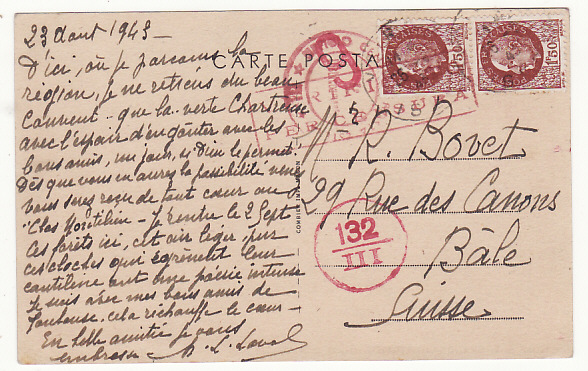 [19052]  FRANCE - SWITZERLAND…ITALIAN OCCUPATION of S.E. FRANCE…  1943 (Aug 23)