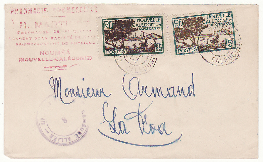 [20064]  NEW CALEDONIA…WW2 INTERNAL CENSORSHIP to LA FOA…  1943 Plain envelope to Monsieur Armand, La Foa from Pharmacy in Noumea bearing 1928 issue Tree & View 5c & 25c tied Noumea /Nouvelle Caledonie with unclear month cds & with violet circular Alliee /8 /Nouvelle Caledonie hand stamp & on reverse La Foa (17 Sep)