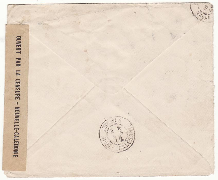 [20072]  NEW CALEDONIA …WW2 INTERNAL CENSORED MAIL from POUEMBOUT to U.S.FORCES at NOUMEA…  1942 (May 11)