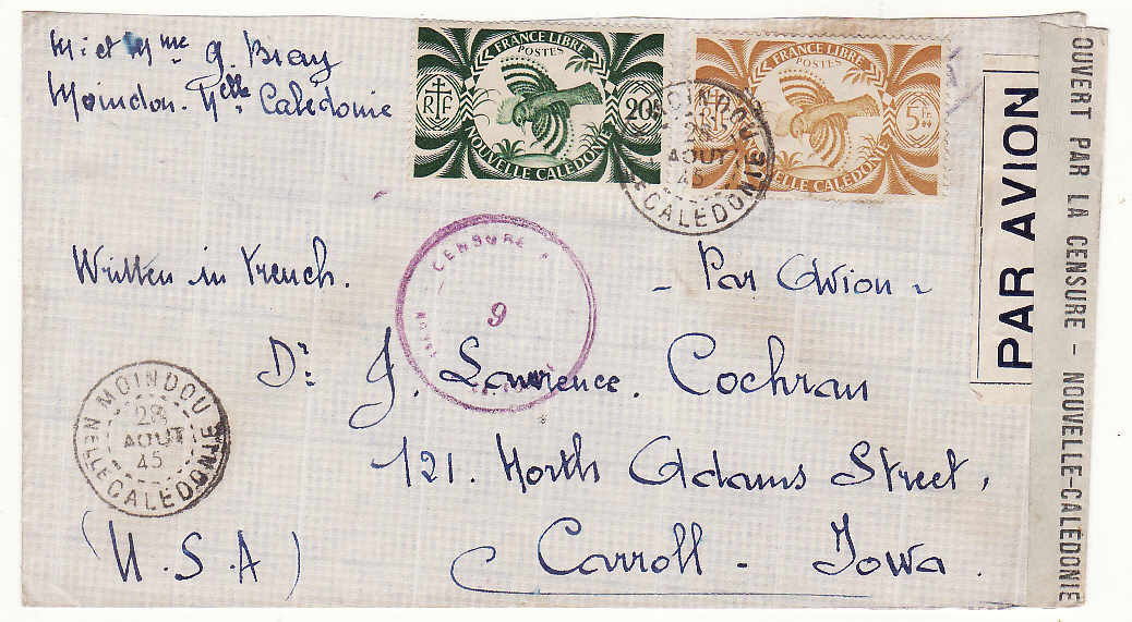 [20073]  NEW CALEDONIA - USA …WW2 TRANS PACIFIC CENSORED AIRMAIL…  1945 (Aug 28)