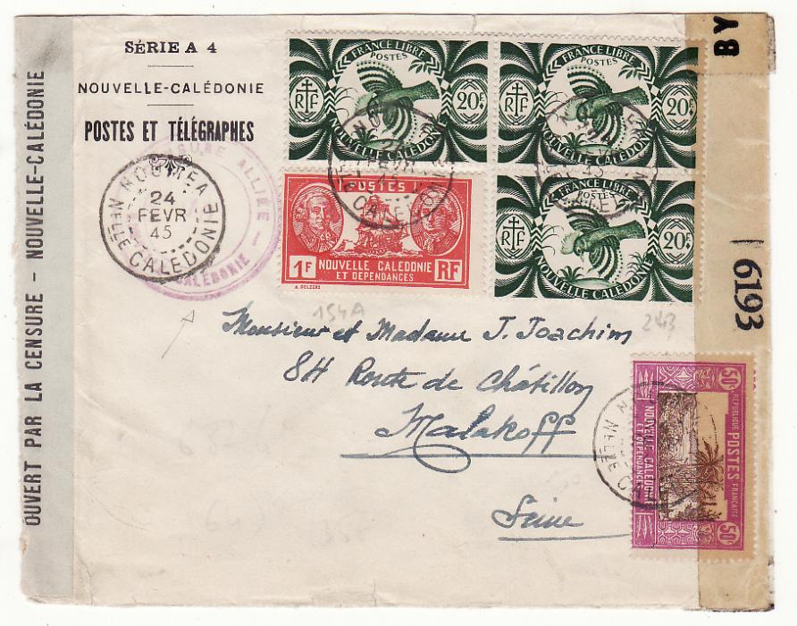 [20079]  NEW CALEDONIA - FRANCE …WW2 DOUBLE CENSORED …  1945 (Feb 24)