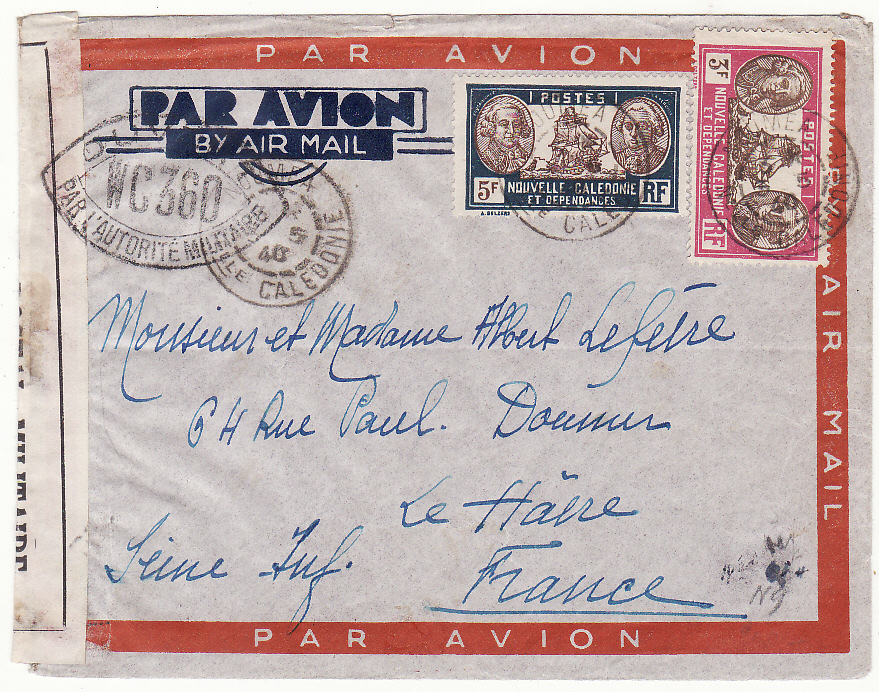 [20085]  NEW CALEDONIA - FRANCE …WW2 CENSORED AIRMAIL …  1940 (May 3)