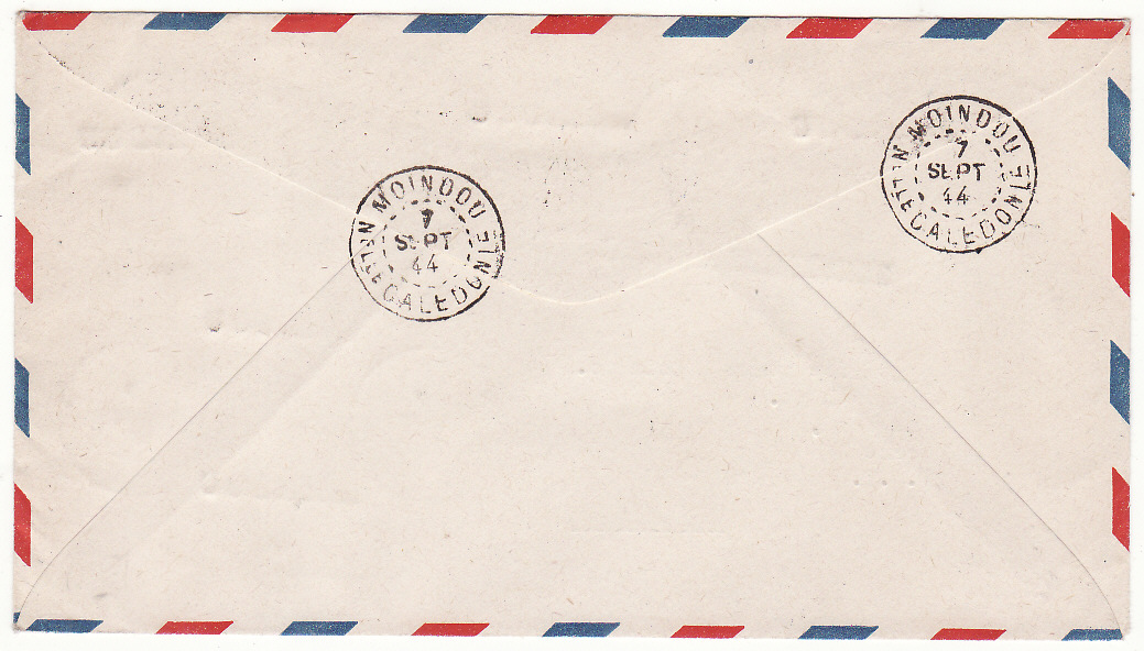 [20089]  NEW CALEDONIA - USA …WW2 CLIPPER MAIL to STAMP DEALER …  1944 (Sep 7)