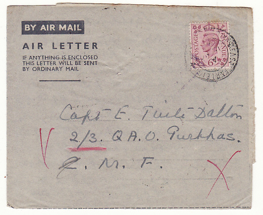 [15590]  GB - CYPRUS….WW2 FORWARDED to PALESTINE via EGYPT...  1943 (Nov 15)
