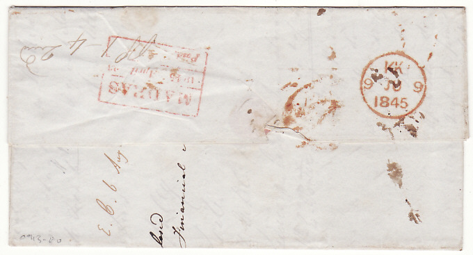 [17952]  INDIA - GB...1845 PRE-STAMP from MADRAS to LONDON...  1845 (Apr 23)