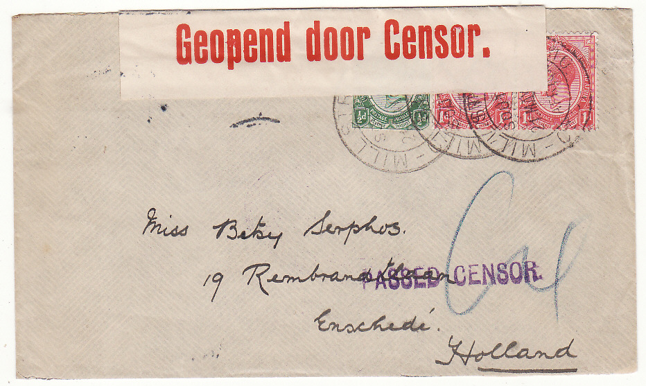 [20114]  SOUTH AFRICA - HOLLAND..WW1 CENSORED...   1915 (May 21)