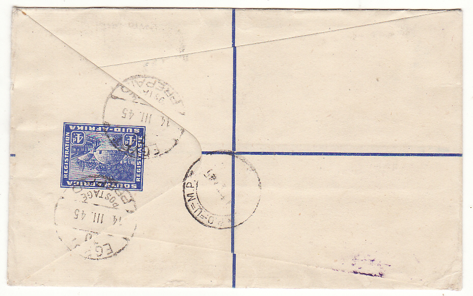 [20126]  EGYPT - SOUTH AFRICA...WW2 SOUTH AFRICAN FORCES REGISTERED AIRMAIL...   1945 (Mar 14)