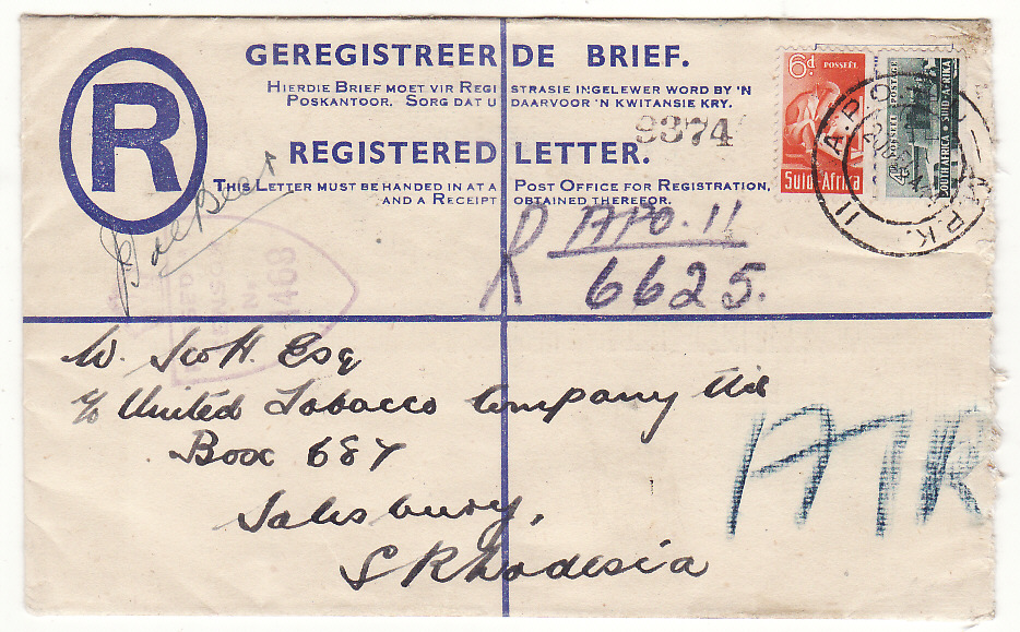 [20128]  ITALY - SOUTH RHODESIA...WW2 SOUTH AFRICAN FORCES REGISTERED AIRMAIL...   1944 (Dec 20)