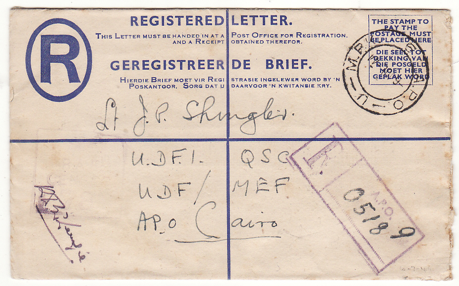 [20130]  ITALY -EGYPT...WW2 SOUTH AFRICAN FORCES REGISTERED ...   1944 (Jul 6)