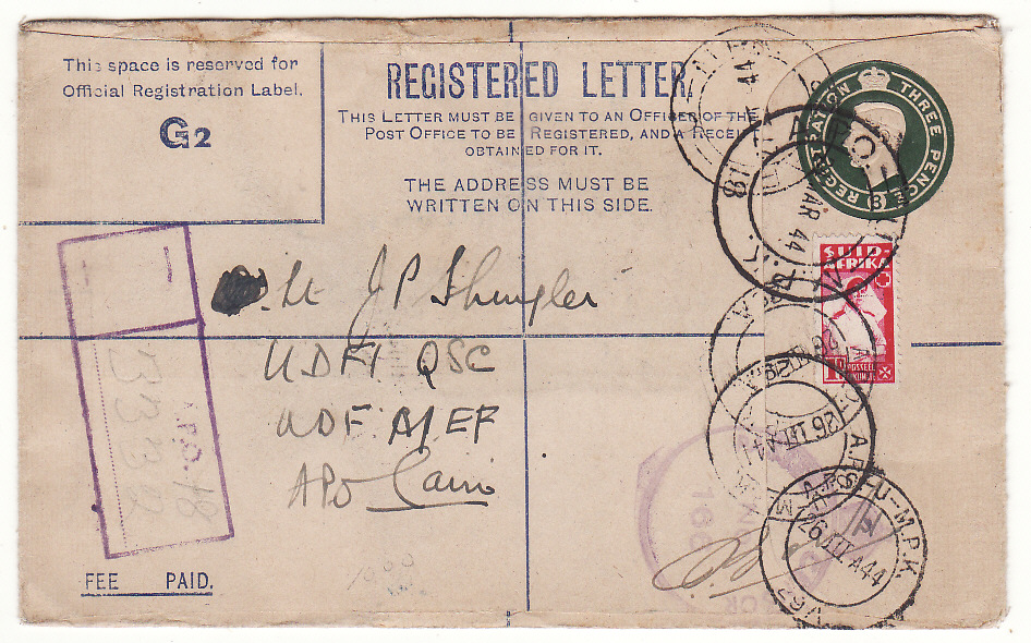 [20131]  ITALY -EGYPT...WW2 SOUTH AFRICAN FORCES using GB REGISTERED Envelope...   1944 (Mar 24)