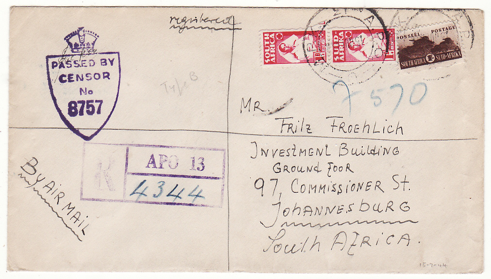 [20134]  ITALY - SOUTH SFRICA...WW2 SOUTH AFRICAN FORCES REGISTERED & CENSORED...   1944 (Jul 15)