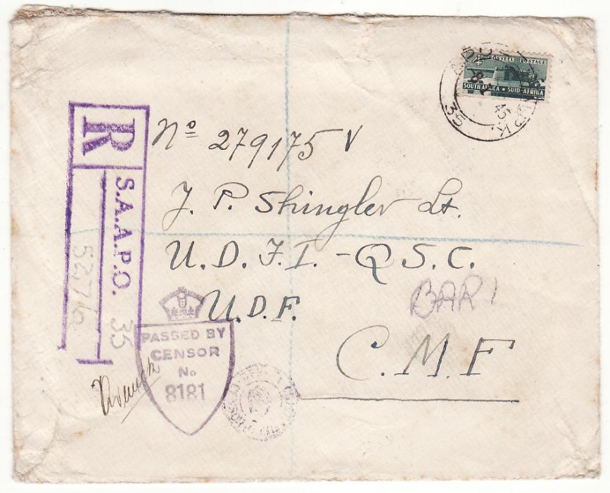 [20139]  EGYPT - ITALY..WW2 SOUTH AFRICAN FORCES REGISTERED CENSORED..  1945 (Jan 8)