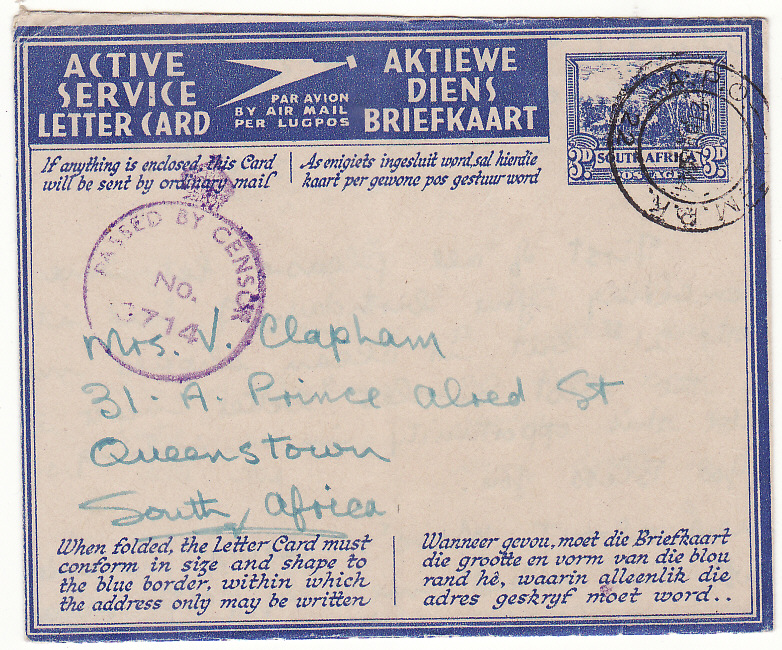 [20142]  ITALY - SOUTH AFRICA...WW2 SOUTH AFRICAN FORCES 3d LETTERCARD with MANUSCRIPT HONOUR CERTIFICATION...   1944 (Jul 26)
