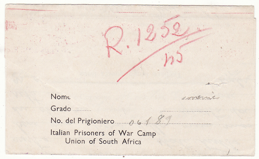 [20154]  SOUTH AFRICA - ITALY... WW2 POW MAIL..  1945 (Oct 2)