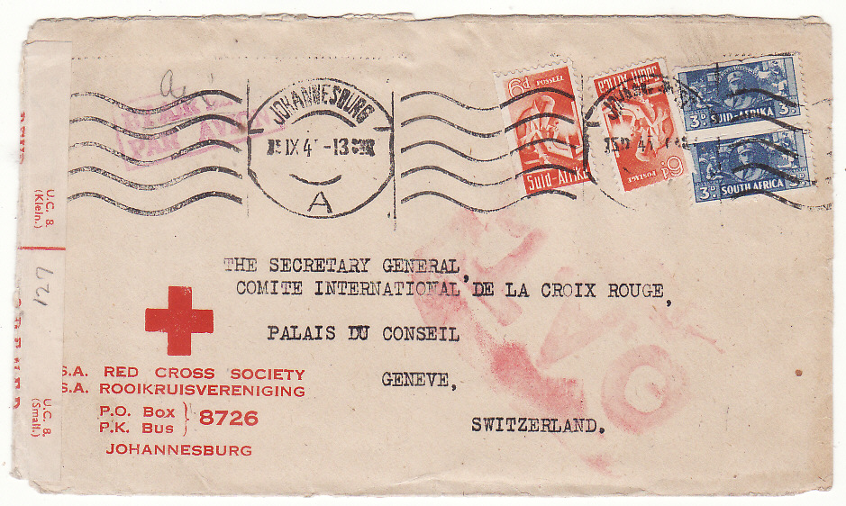 [20156]  SOUTH AFRICA - SWITZERLAND... WW2 RED CROSS O.A.T.  1945 (Sep 15)