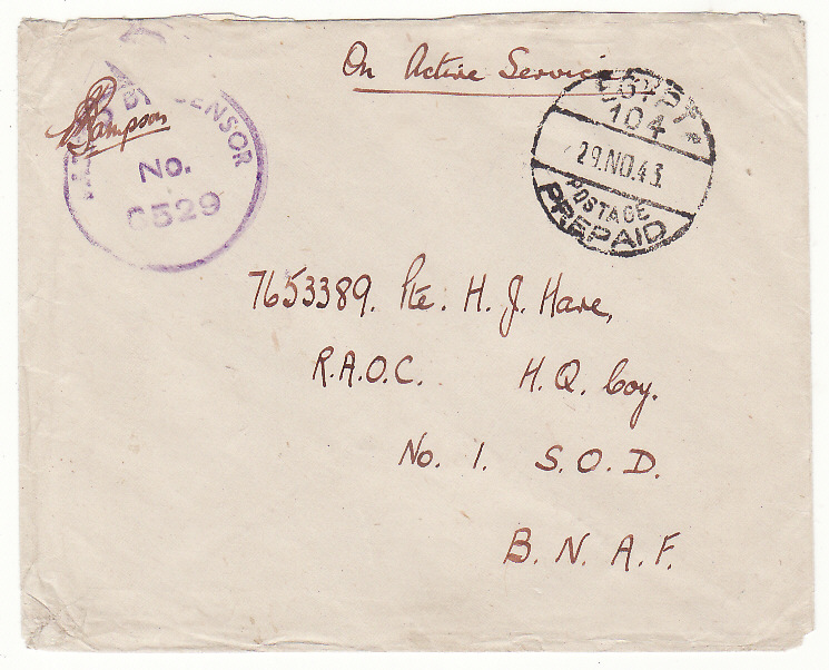 [20171]  EGYPT - SOUTH AFRICA…WW2 SOUTH AFRICAN FORCES ..  1943 Trio of plain stampless envelopes to Transvaal (9 Nov)