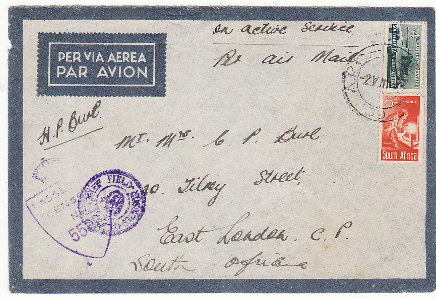 [20179]  ITALY - SOUTH AFRICA…WW2 SOUTH AFRICAN FORCES HOSPITAL by AIRMAIL…  1944 Trio Captured Italian airmail (1)