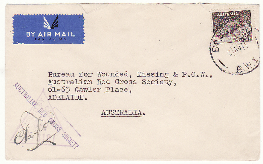 [20202]  AUSTRALIA…WW2 FORCES in PALESTINE ..RED CROSS…  1941 (Aug 21)