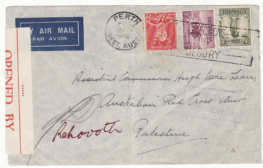 [20203]  AUSTRALIA - PALESTINE…WW2 CENSORED AIRMAIL PERFINNED to RED CROSS…  1940 (Sep 12)