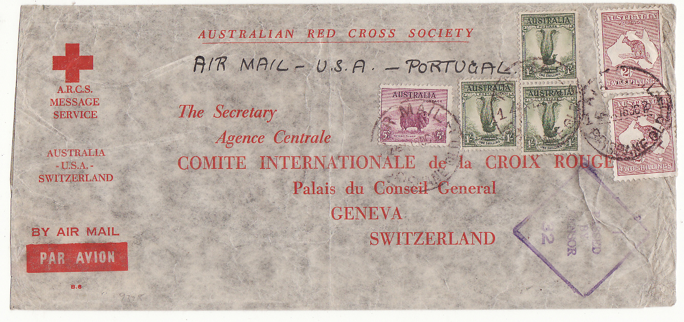 [20221]  AUSTRALIA - SWITZERLAND…WW2 A.R.C.S. MESSAGE SERVICE to RED CROSS, GENEVA at 7/5d RATE from BRISBANE .…  1942 (Oct 15)