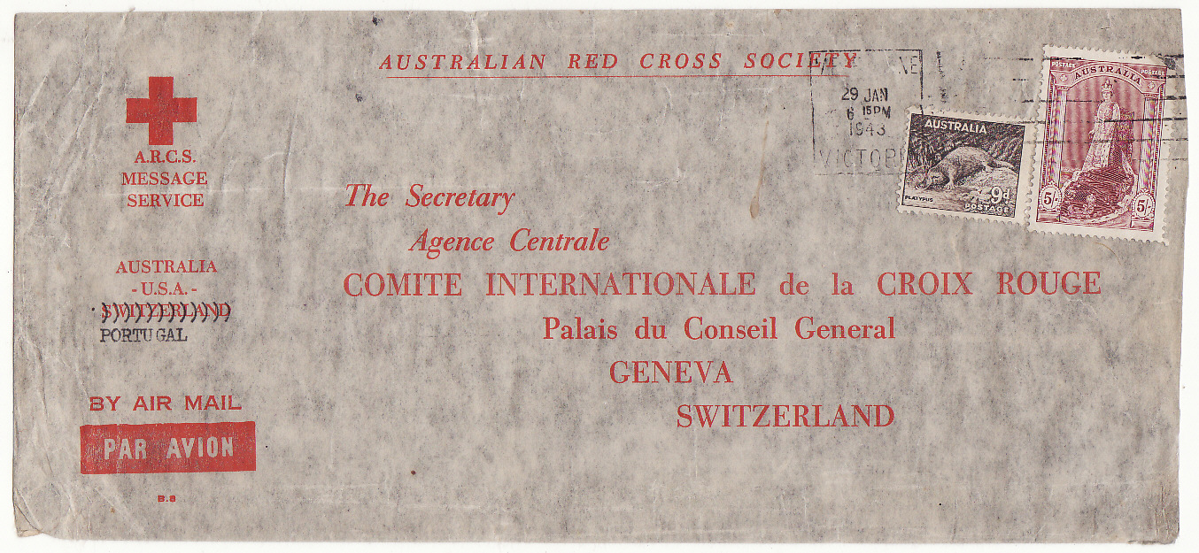 [20223]  AUSTRALIA - SWITZERLAND…WW2 A.R.C.S. MESSAGE SERVICE to RED CROSS, GENEVA at 5/9d RATE .…  1943 (Jan 29)