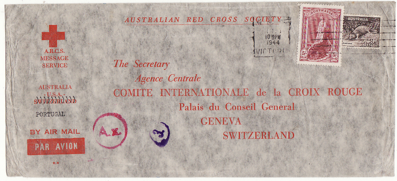 [20225] AUSTRALIA - SWITZERLAND…WW2 A.R.C.S. MESSAGE SERVICE to RED CROSS, GENEVA at 5/9d RATE. .  