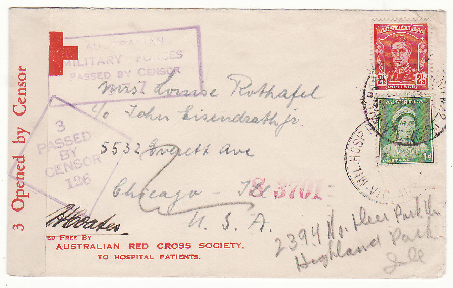 [20214]  AUSTRALIA - USA…WW2 RED CROSS from HOSPITAL PATIENT DUEL MILITARY & CIVIL CENSORS.…  1943 (Nov 1)