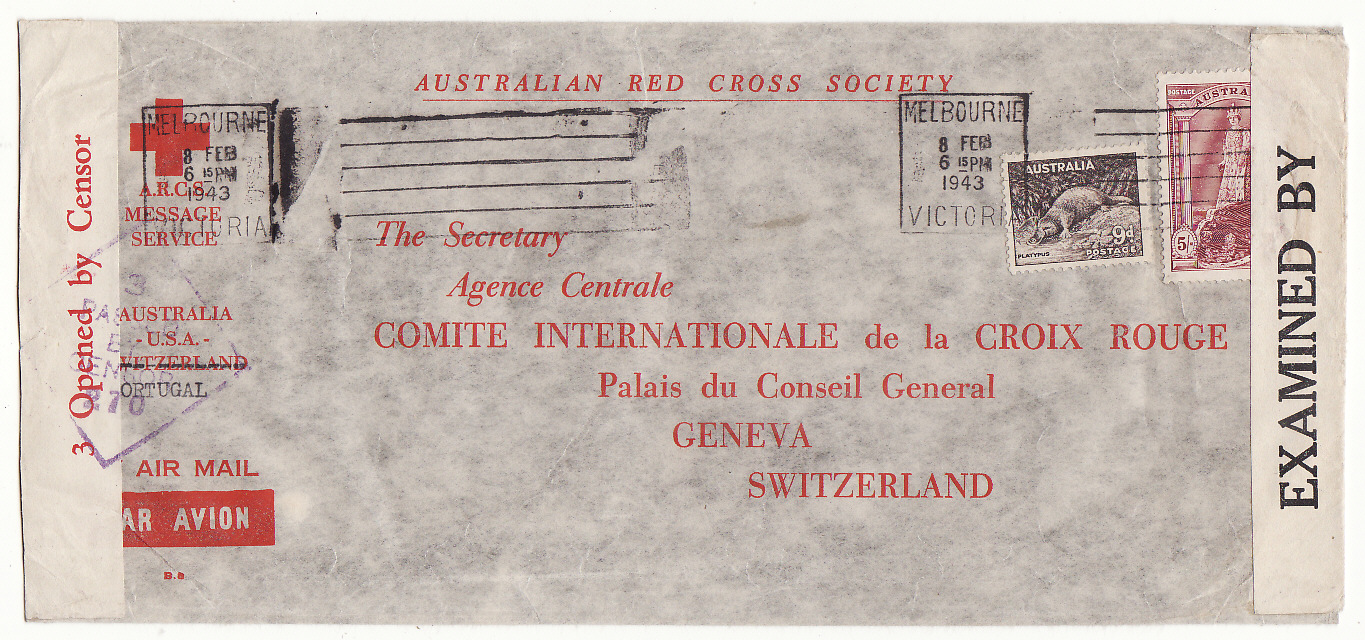 [20224]  AUSTRALIA - SWITZERLAND…WW2 A.R.C.S. MESSAGE SERVICE to RED CROSS, GENEVA at 5/9d RATE .…  1943 (Feb 8)