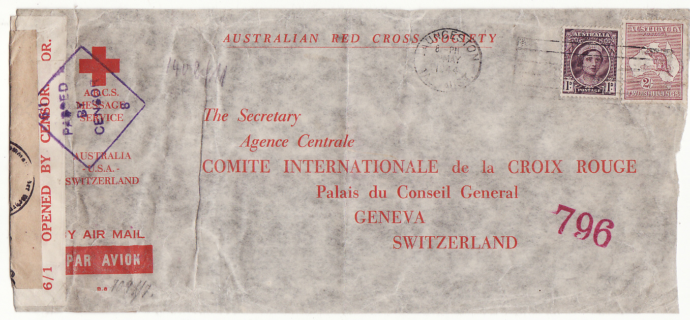 [20228]  AUSTRALIA - SWITZERLAND…WW2 A.R.C.S. MESSAGE SERVICE to RED CROSS, GENEVA at 2/1d RATE .…  1944 (May)