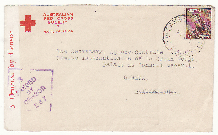 [20237]  AUSTRALIA - SWITZERLAND…WW2 to RED CROSS, GENEVA from A.C.T. DIVISION .…  1944 (Aug 29)