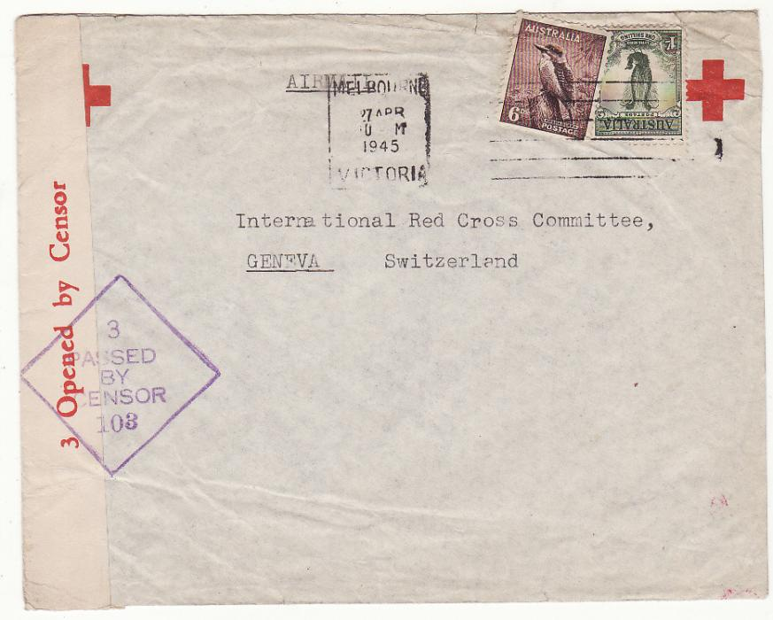 [20235]  AUSTRALIA - SWITZERLAND…WW2 NED. INDIES RED CROSS in MELBOURNE to RED CROSS, GENEVA at RESTORED 1/6 EMPIRE ROUTE .…  1945 (Apr 27)