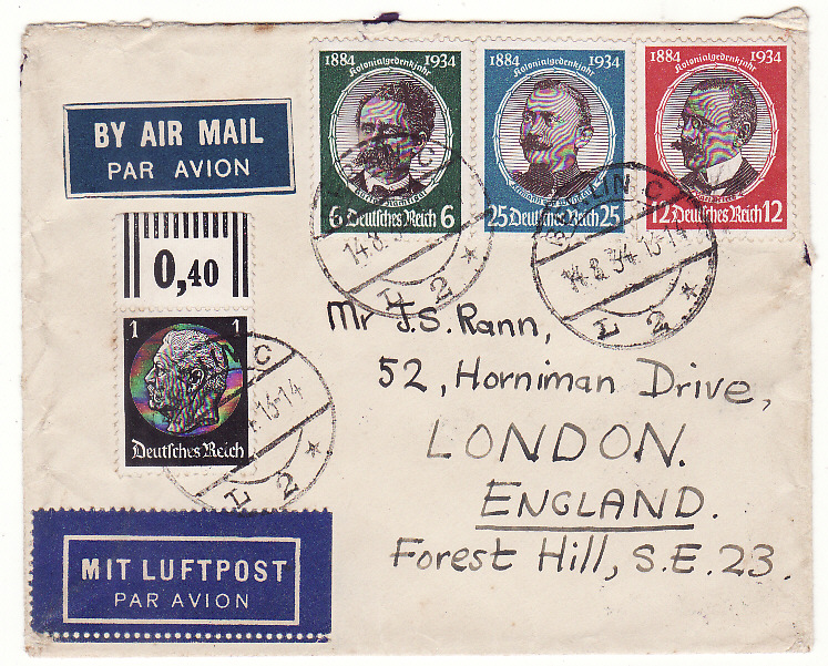 [20310]  GERMANY - GB …50th ANNIV. OF ESTABLISHMENT OF GERMAN COLONIES ....   1934 (Aug 14)