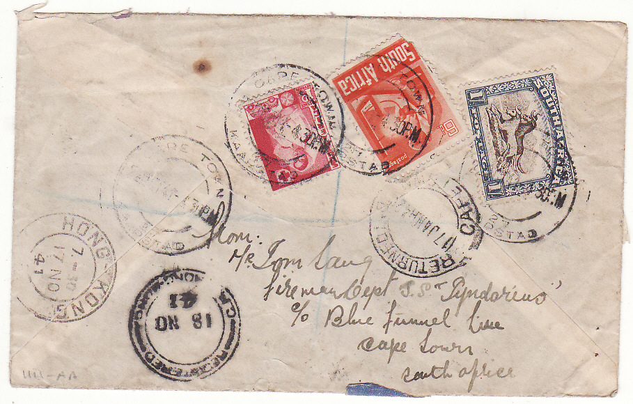 [20348]  SOUTH AFRICA - HONG KONG …WW2 REGISTERED, NOT KNOWN & RETURNED…  1941 (Oct 2)