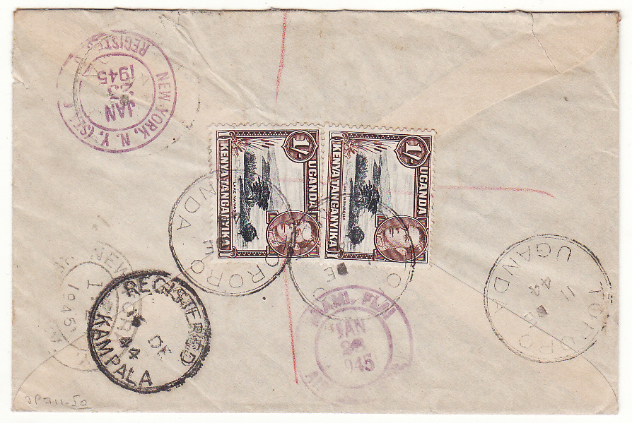 [20378]  UGANDA - USA…WW2 REGISTERED AIRMAIL via LAGOS…  1944 (Dec 11)