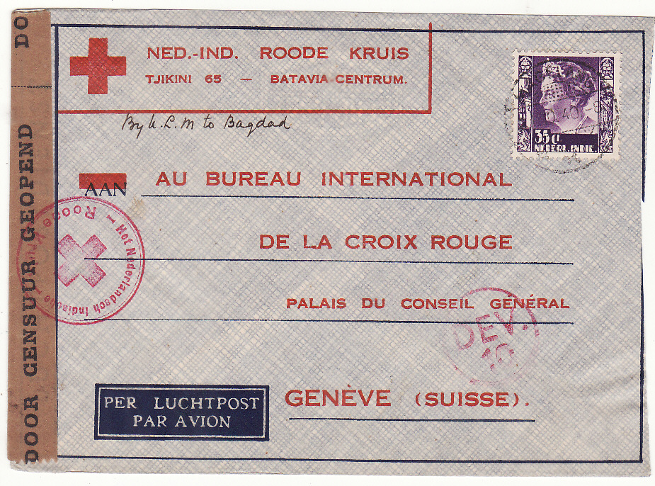 [20390]  NETHERLAND EAST INDIES - SWITZERLAND…WW 2 CENSORED to RED CROSS..  1940 (Oct 21)