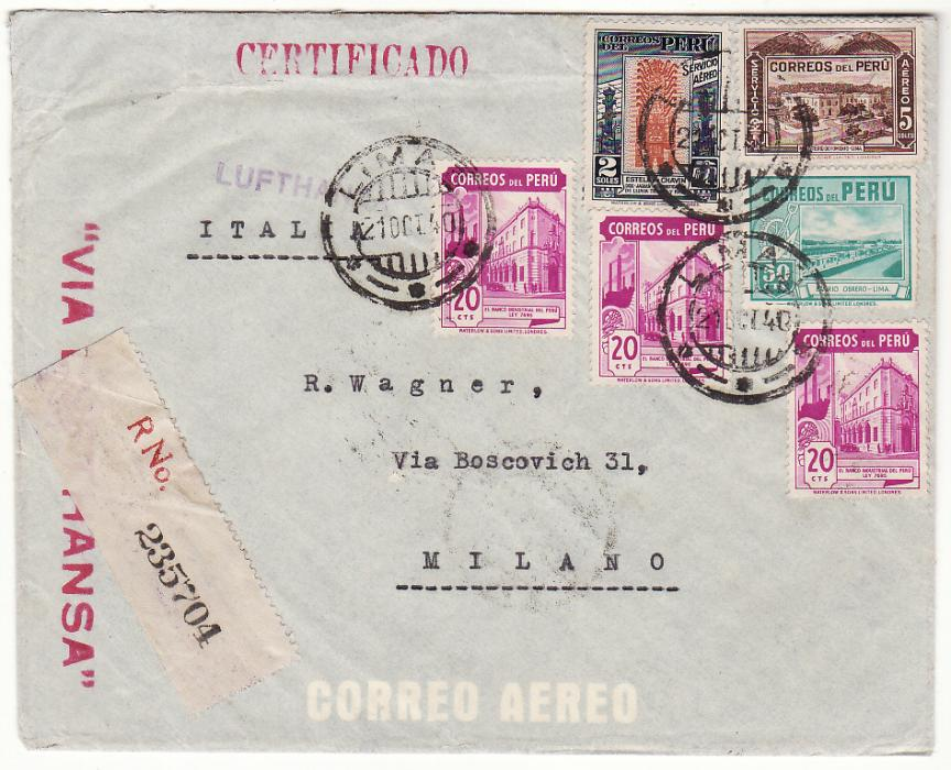 [20419]PERU - ITALY..WW2 SCARCE LATI MAIL..