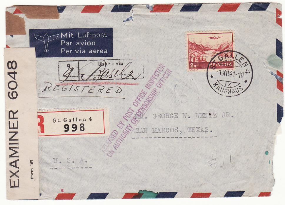 Middle East Wwii Censored Cover From Afghanistan To Switzerland 1942